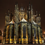St. Vitus Cathedral at night in Prague Stock Image