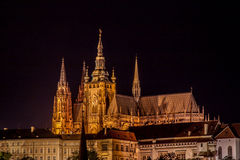 St. Vitus Cathedral at night. St. Vitus Cathedral view from Charles Bridge royalty free stock photos