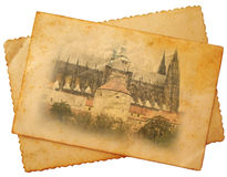 St Vitus cathedral on postcard. St Vitus cathedral in Prague on postcard stock images
