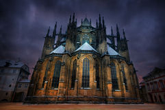 St. Vitus Cathedral In Prague. On a stormy winter morning Stock Photos
