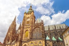 St. Vitus Cathedral in Prague in a beautiful summer day.  royalty free stock image