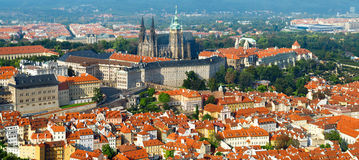 St. Vitus Cathedral and Prague Castle from above Royalty Free Stock Images