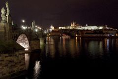 St. Vitus Cathedral and Prague Castle with Charles Bridge at night, Prague, Czech Republic. Royalty Free Stock Image