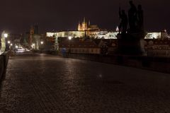 St. Vitus Cathedral and Prague Castle with Charles Bridge at night, Prague, Czech Republic. Royalty Free Stock Images