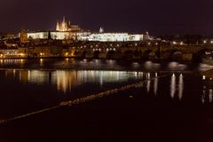 St. Vitus Cathedral and Prague Castle with Charles Bridge at night, Prague, Czech Republic. Royalty Free Stock Photography
