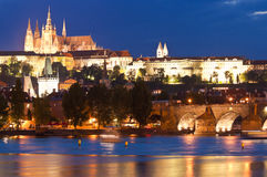 St Vitus Cathedral, Prague Castle and Charles Bridge. Pretty night time illuminations of Prague Castle, Charles Bridge and St Vitus Cathedral reflected in the Royalty Free Stock Photography