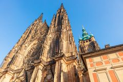 Towers and a rosette of St Vitus Cathedral in Prague. St. Vitus Cathedral is Prague Castle main entrance tower close-up stock image