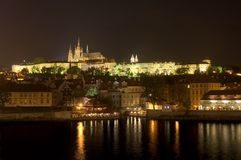 St. Vitus Cathedral and Prague Castle at night Royalty Free Stock Photography