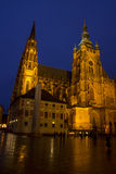 St. Vitus Cathedral on Prague Castle in the Night Stock Photography