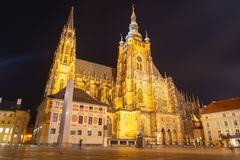 St Vitus Cathedral in Prague Castle by night, Prague, Czech Republic.  stock photography