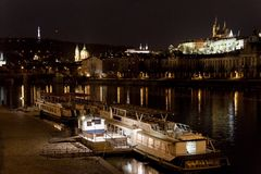 St. Vitus Cathedral and Prague Castle at night, Prague, Czech Republic. View of Prague Castle at night Royalty Free Stock Image