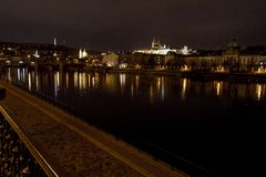 St. Vitus Cathedral and Prague Castle at night, Prague, Czech Republic. View of Prague Castle at night Stock Photos