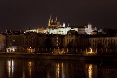 St. Vitus Cathedral and Prague Castle at night, Prague, Czech Republic. View of Prague Castle at night Stock Images