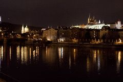 St. Vitus Cathedral and Prague Castle at night, Prague, Czech Republic. View of Prague Castle at night Stock Image