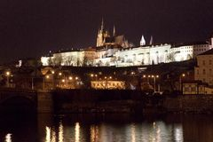 St. Vitus Cathedral and Prague Castle at night, Prague, Czech Republic. View of Prague Castle at night stock photography