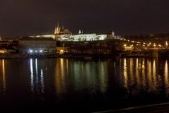 St. Vitus Cathedral and Prague Castle at night, Prague, Czech Republic. View of Prague Castle at night Royalty Free Stock Photo
