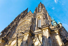 St. Vitus Cathedral , Prague, Czech Republic. The west facade of St. Vitus Cathedral in Prague (Czech Republic) with its rose window royalty free stock photos