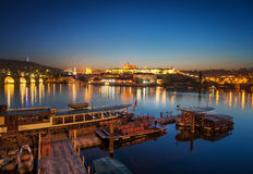St. Vitus cathedral, Prague, Czech republic. Boat dock during sunset near St. Vitus cathedral, Prague, Czech republic Stock Photos