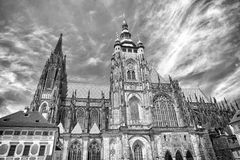 St.vitus cathedral in prague, czech republic. Church building on cloudy blue sky. Monument of gothic architecture and. Design. Vacation and wanderlust concept Royalty Free Stock Images