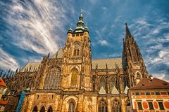 St.vitus cathedral in prague, czech republic. Church building on cloudy blue sky. Monument of gothic architecture and royalty free stock photo