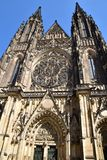St Vitus Cathedral Prague frontal view. St Vitus Cathedral Prague, Czech Republic, Europe,  frontal bug view Royalty Free Stock Images