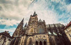 St. Vitus Cathedral, Prague, Czech Republic. Wide angle. Vintage Royalty Free Stock Photo