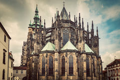 St. Vitus Cathedral, Prague, Czech Republic. Wide angle. Vintage Stock Image