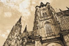 St. Vitus Cathedral in Prague. Gothic Roman Catholic cathedral in Prague Castle in the Czech Republic. royalty free stock image