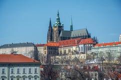 St Vitus Cathedral Prague landschap Royalty-vrije Stock Foto