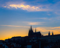 St. Vitus Cathedral, Prague. Sunset at St. Vitus Cathedral of Prague Castle Royalty Free Stock Images