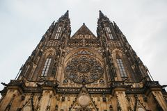 St. Vitus Cathedral in Prague in winter.  royalty free stock image