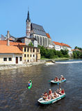 St. Vitus cathedral and rafting on Vltava river Stock Image