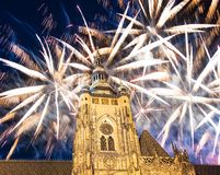 St. Vitus Cathedral Roman Catholic cathedral and holiday fireworks -- Prague Castle and Hradcany, Czech Republic Royalty Free Stock Photos