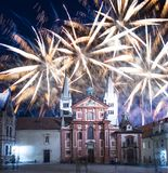 St. Vitus Cathedral Roman Catholic cathedral and holiday fireworks -- Prague Castle and Hradcany, Czech Republic Stock Photos