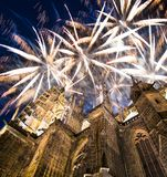 St. Vitus Cathedral Roman Catholic cathedral and holiday fireworks -- Prague Castle and Hradcany, Czech Republic Royalty Free Stock Photography