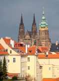 St. Vitus cathedral and roofs of Old Prague Royalty Free Stock Photography