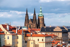 St. Vitus cathedral and roofs of Old Prague Stock Photos
