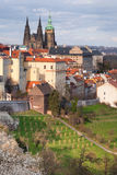 St. Vitus cathedral and roofs of Old Prague Royalty Free Stock Photos