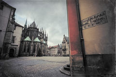 St. Vitus Cathedral and St. George's Square in Prague Castle stock images