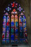 St Vitus Cathedral stain glass window Stock Photo