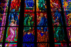 St Vitus Cathedral Stained Glass Window stock foto's