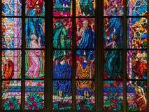 PRAGUE, CZECH REPUBLIC - SEPTEMBER 4, 2017. St. Vitus Cathedral stained glass windows, Prague, Czech Republic. St. Vitus Cathedral stained glass windows, Prague Stock Image