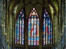 PRAGUE, CZECH REPUBLIC - SEPTEMBER 4, 2017. St. Vitus Cathedral stained glass windows, Prague, Czech Republic. St. Vitus Cathedral stained glass windows, Prague Stock Photo