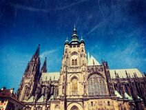 St. Vitus Catherdal, Prague. Vintage retro hipster style travel image of Gothic architecture facade of St. Vitus Catherdal, Prague, Czech Republic with grunge Royalty Free Stock Images