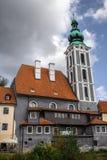 St Vitus church in Cesky Krumlov. Old tall St Vitus church in Cesky Krumlov Royalty Free Stock Photo