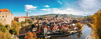 St. Vitus Church and cityscape Cesky Krumlov Stock Photos