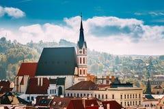 St Vitus Church e paesaggio urbano Cesky Krumlov Immagine Stock Libera da Diritti
