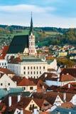 St Vitus Church e paesaggio urbano Cesky Krumlov Fotografie Stock Libere da Diritti