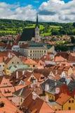 St Vitus Church e paesaggio urbano Cesky Krumlov, repubblica Ceca Immagini Stock Libere da Diritti