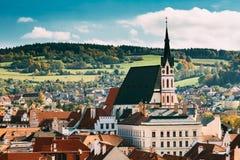 St Vitus Church e paesaggio urbano Cesky Krumlov, repubblica Ceca Immagine Stock